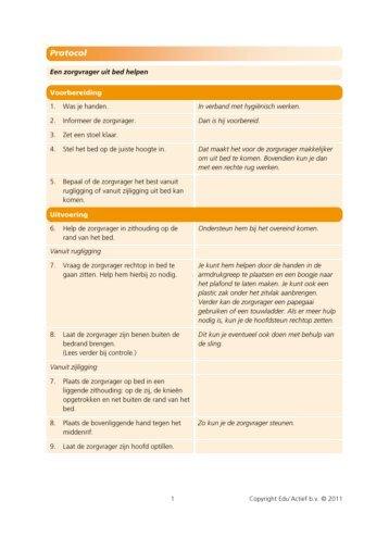 Protocol: Een zorgvrager uit bed helpen - Factor-E