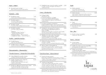 Speisenkarte Restaurant la Tapia (PDF) - Factory Hotel