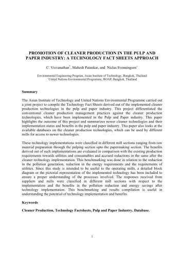 promotion of cleaner production in the pulp and paper industry