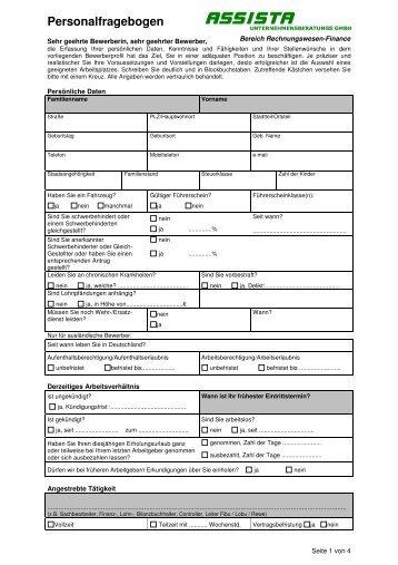 Personalfragebogen Rechnungswesen