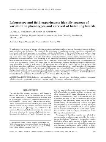 Laboratory and field experiments identify sources of variation in ...