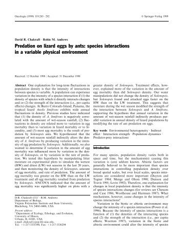 Predation on lizard eggs by ants: species interactions in a variable ...