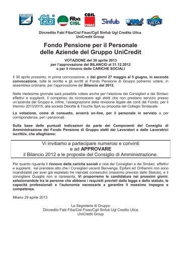 Comunicato Unitario UNICREDIT GROUP Fondo Pensione di ... - Fabi