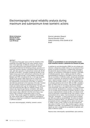 Electromiographic signal reliability analysis during ... - SciELO - Site