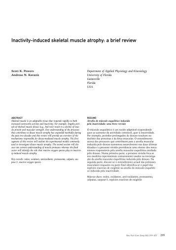 Inactivity-induced skeletal muscle atrophy - SciELO