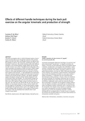 Effects of different handle techniques during the back pull ... - SciELO