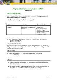 Organisationsform und Lehrplan am NRG Organisationsform