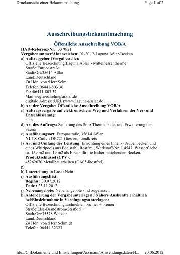 Ausschreibungsbekanntmachung Öffentliche ... - Stadt Aßlar