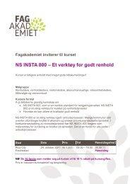 NS INSTA 800 – Et verktøy for godt renhold - Fagforbundet