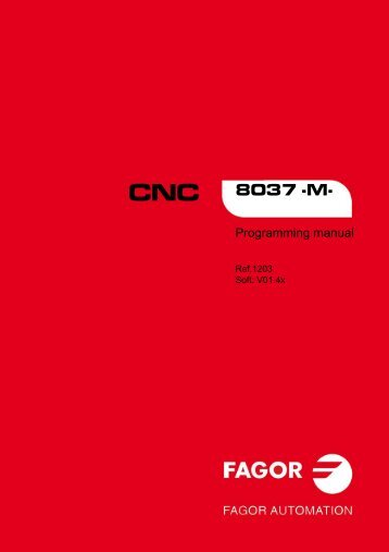 CNC 8037 M - Programming manual - Fagor Automation