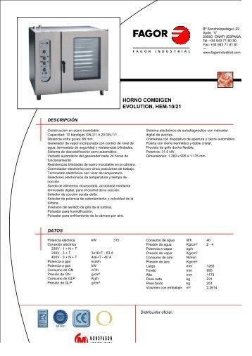 Descargar fichas de producto - Fagor Industrial