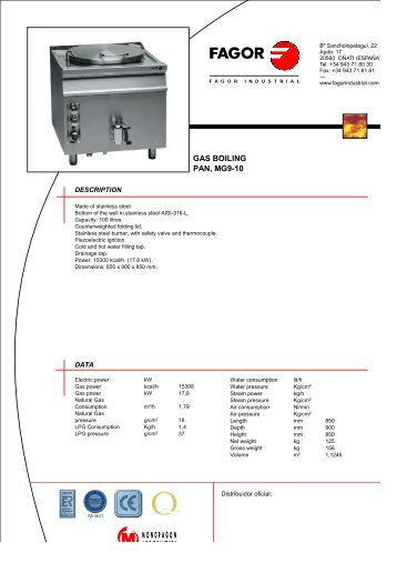 GAS BOILING PAN, MG9-10 - Fagor Industrial