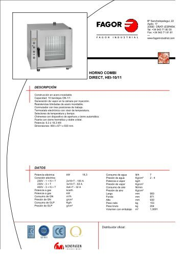 HORNO COMBI DIRECT, HEI-10/11 - Fagor Industrial