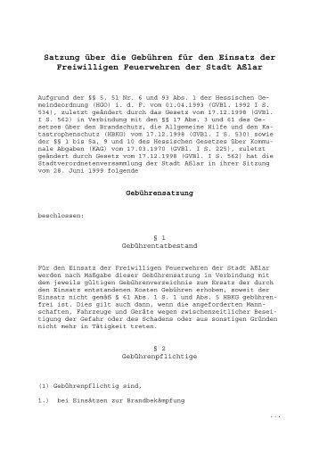 Satzung über die Gebühren für den Einsatz der ... - Stadt Aßlar