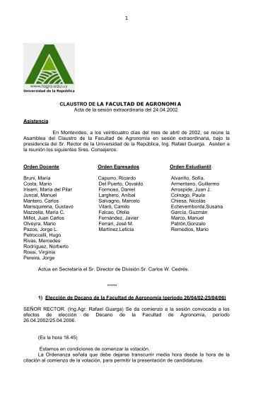 1 CLAUSTRO DE LA FACULTAD DE AGRONOMIA Acta de la ...