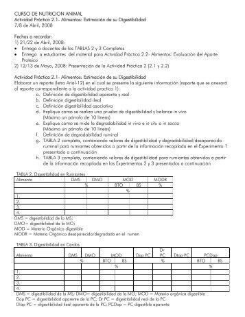 CURSO DE NUTRICION ANIMAL Actividad Práctica 2.1- Alimentos ...