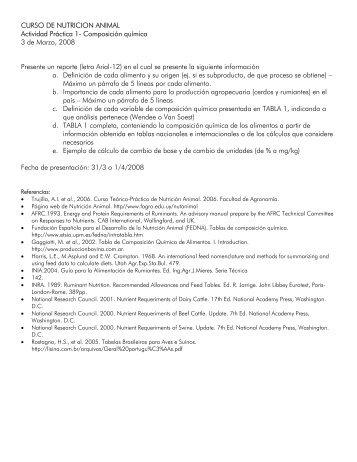 CURSO DE NUTRICION ANIMAL Actividad Práctica 1 - Facultad de ...