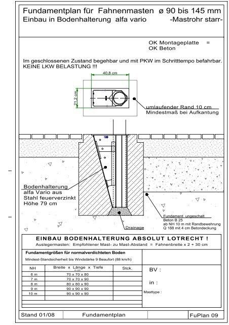 Ganz und zu Extrem Detailierte Fundamentpläne zu Bodenhalterung Vario 90/150 für @DB_69