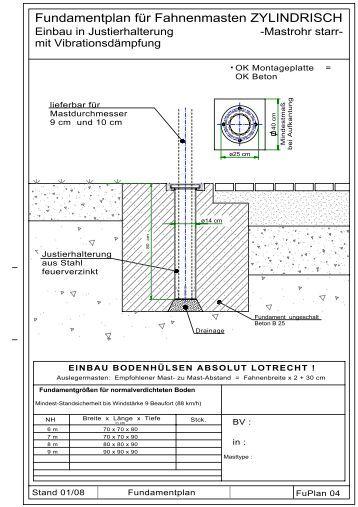 detailierte fundamentpl ne zu kombinierter fahnen lichtmast. Black Bedroom Furniture Sets. Home Design Ideas