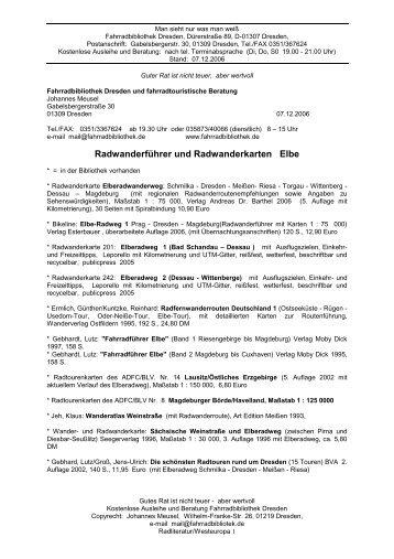 Radliteratur Elberadweg - Fahrradbibliothek Dresden