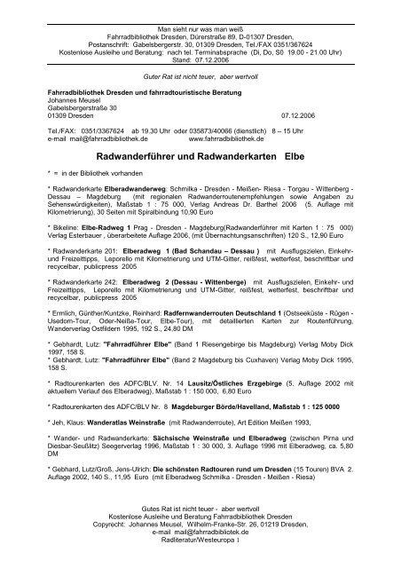 Radliteratur Elberadweg Fahrradbibliothek Dresden