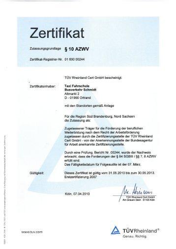 Zertifikat AZWV - Fahrschule Schmidt