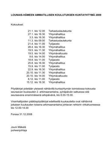 LOUNAIS-HÄMEEN AMMATILLISEN KOULUTUKSEN ...
