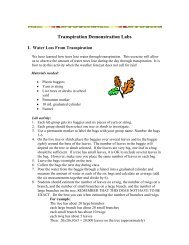 Transpiration and Xylem Demonstration Labs