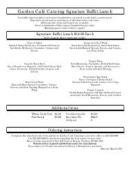 View the buffet lunch menu and order form - Fairchild Tropical ...