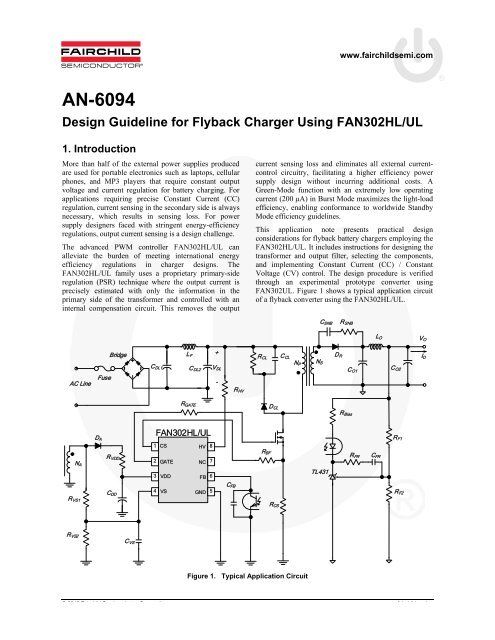 AN-6094 Design Guideline for Flyback Charger Using FAN302HL/UL on power schematic, nautilus schematic, audio schematic, capacitor schematic,