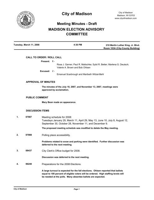 Meeting Minutes - Fair Elections Wisconsin