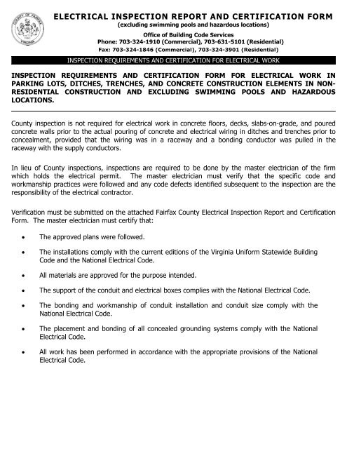 Electrical Inspection Report And Certification Form Fairfax County