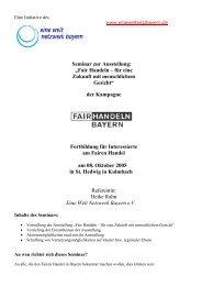 Seminar zur Ausstellung - FairHandeln Bayern!