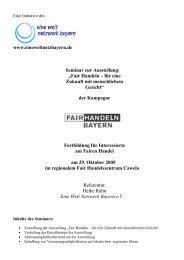 Multiplikatorenseminar zur Ausstellung - FairHandeln Bayern!