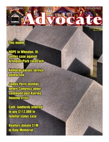 volume e3, no. 3 march 2007 - National Fair Housing Advocate Online