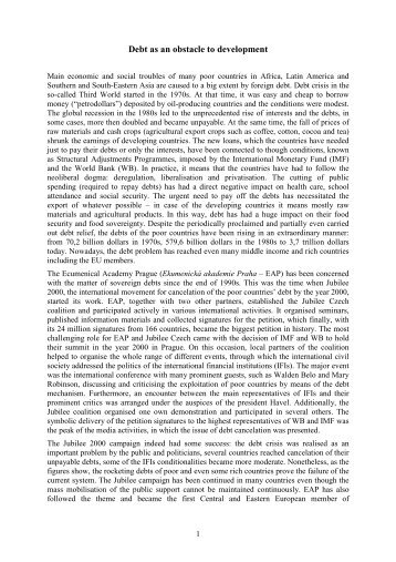 Debt as an obstacle to development - Ekumenická akademie Praha