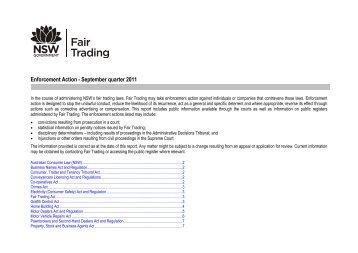 Enforcement Report September 2011 - NSW Fair Trading
