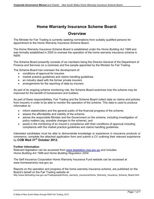 Home Warranty Insurance Scheme Board Overview Charter And