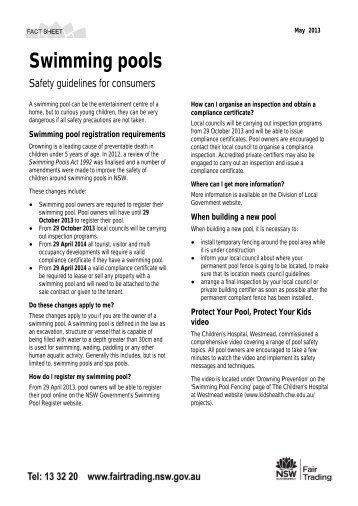 Swimming Pools   Safety Guidelines For Consumers   NSW Fair Trading