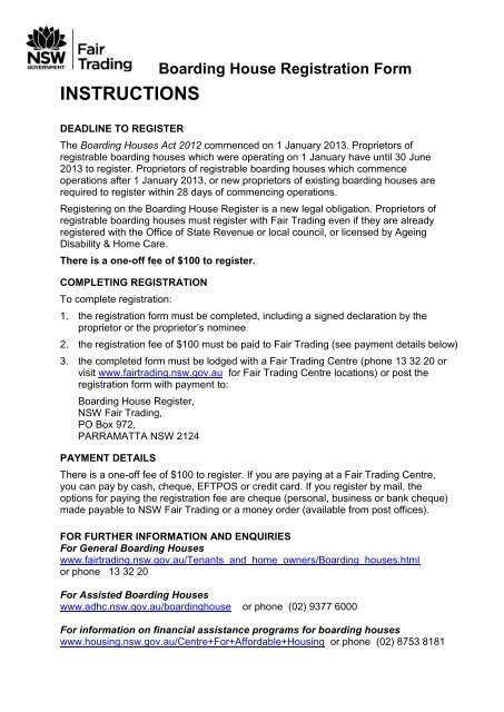 Boarding House Registration Form Nsw Fair Trading