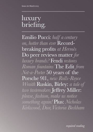 Issue 162 March 2013 Luxury Briefing. - Faith Hope Consolo