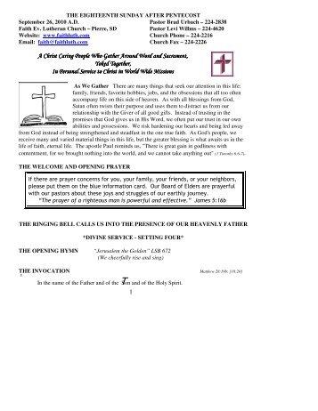 September 26, 2010 Bulletin (.pdf) - Faith Lutheran Church
