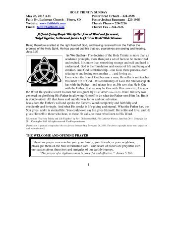 May 26, 2013 Bulletin (.pdf) - Faith Evangelical Lutheran Church