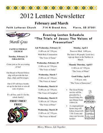 February 2012 Lenten Newsletter - Faith Lutheran Church
