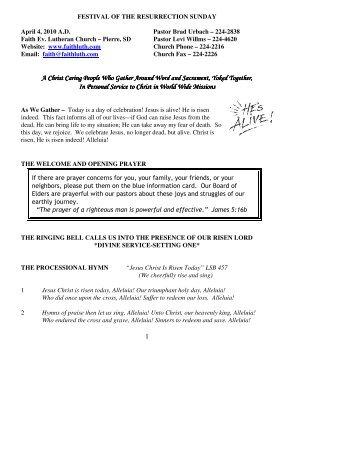 April 4, 2010 Bulletin for Easter Sunday (.pdf) - Faith Evangelical ...