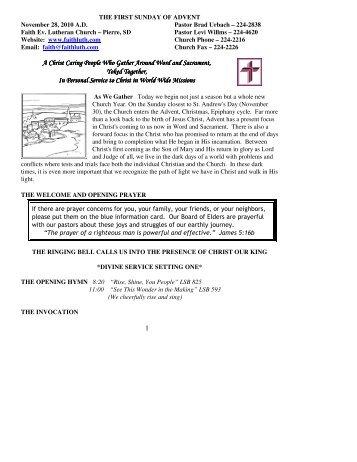 November 28, 2010 Bulletin (.pdf) - Faith Evangelical Lutheran Church