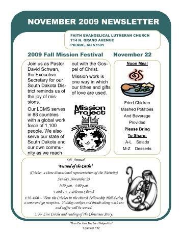 November 2009 Newsletter - Faith Evangelical Lutheran Church
