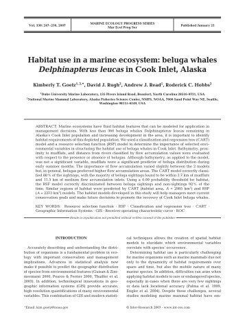 Habitat use in a marine ecosystem: beluga whales Delphinapterus ...