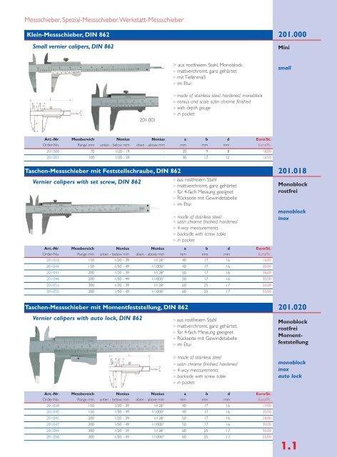 150-200 mm aus Werkzeugstahl Skala und Nonius mattverchromt Messschieber