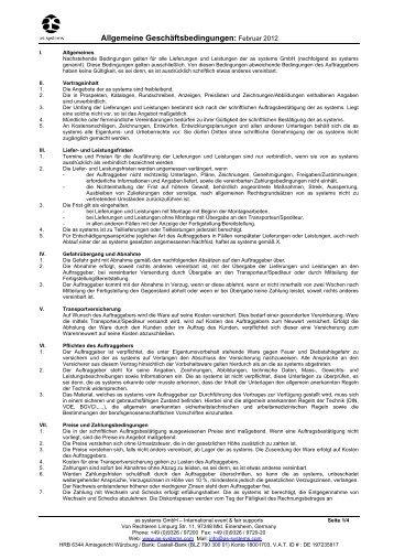 Allgemeine Geschäftsbedingungen: Februar 2012